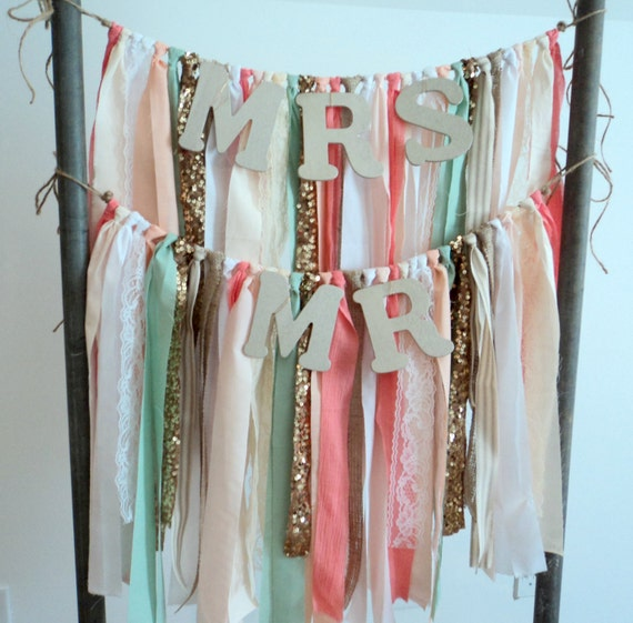 Set Of Chair Sashes Mr Mrs Chair Garlands Bride And Groom