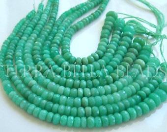 "6"" half strand green CHRYSOPRASE faceted gem stone rondelle beads 3mm - 6mm"