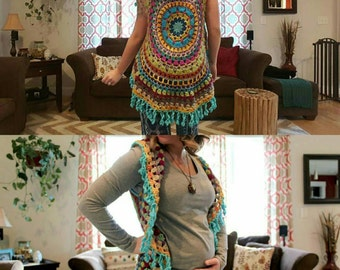 FREE SHIPPING! OOAK Scrappy Crochet Mandala Vest//Circle Vest