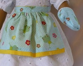 18 inch American Girl Clothes-Blueane Yellow Cupcake Apron with Oven Mitts D019