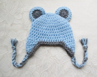 Baby Blue Bear Crochet Hat - With or Without Bow - Winter Hat or Photo Prop - Available in Any Size or Color Combination