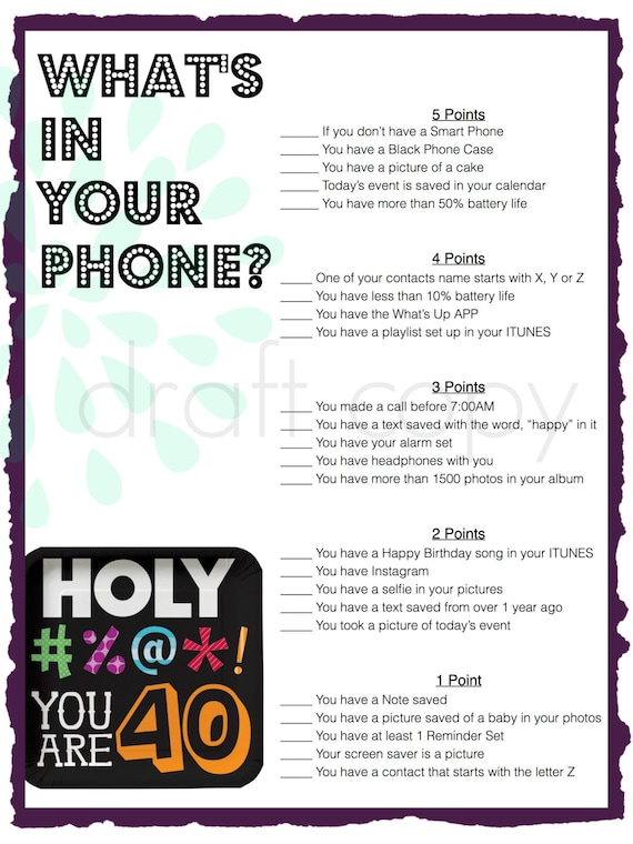 40th Birthday Party Game Whats In Your on 50th Wedding Anniversary Ts