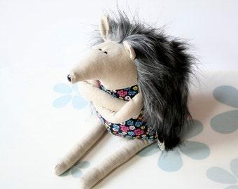 Grumpy Hedgehog, stuffed animal toy for children, Furry Soft Toy, Funny Plushie