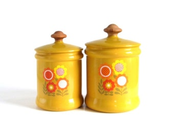 West Bend Canisters Metal Canister Set of 2 Aluminum Harvest Gold Flowers Plastic Lids 1970s Kitchen
