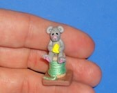Polymer Clay IttyBitty Mouse on Spool of Thread