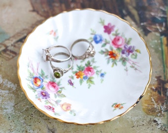 Porcelain Ring Dish - Spring Flowers Ring Holder - Small Trinket Dish - Minton Bone China Made in England