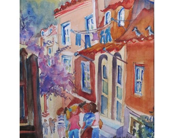 Children Returning Home in Sintra Portugal-  an Original Watercolor