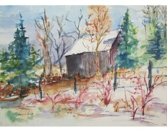Early Winter on a Country Road - Original En Plein Air 10 by 14 inch Watercolor