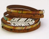 Leather Cork Wrap Bracelet, Whirly Wrap, Cork wrap bracelet. Multi Colored Leather, antique silver feather or leaf, secure magnet, easy on
