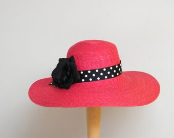 large summer hat / red wide brim sun protection hat / wide brim ladies hat / black and red Audrey Hepburn hat made in Israel