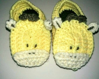 Yellow Cow Hand Crocheted Baby Booties