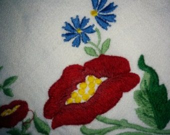 Vintage Hand Embroidered Small White Table Cloth