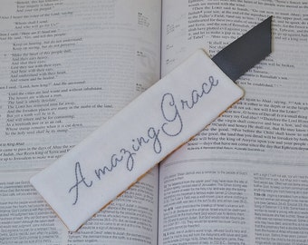Amazing Grace Bookmark - Christian Book Accessory - Religious Hand Embroidery - Grey White Orange Medallion - Book Lover Thank You Gift