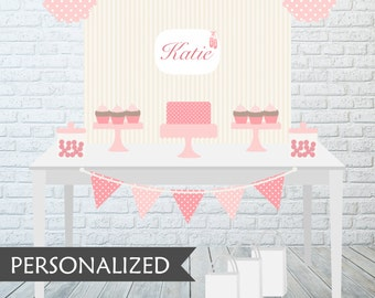 Printable Ballerina Party Backdrop - 3x4 ft. Personalized Printable Party Poster for Ballerina Themed Parties .. bp05