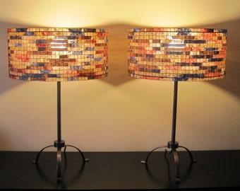 SALE 20% Off -  Pair of lamps Set of TwoTable Lamp Lampshade Lampada Coffee Filter Art
