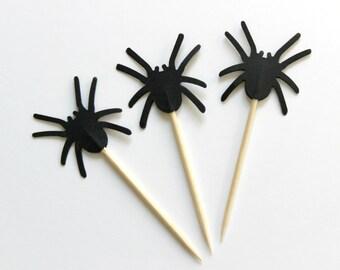 Black Spider Cupcake Toppers, Halloween, Spider Man, Birthday Party