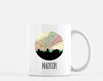 Madison WI mug   Madison Wisconsin mug   Madison WI art mug   Madison skyline mug   Wisconsin home gift   Wisconsin map mug   Wisconsin mug