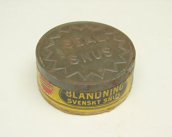 Vintage Blandning Svenskt Snus United States Tobacco Co Yellow Seal Snus Tin Can Cannister Tax Stamp