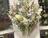 Dried Flower Wedding Bouquet - blush, ivory, white, lavender, romantic, vintage, alternative, natural, keepsake *Champagne Collection*