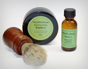 Mens Shaving Set with Shaving Soap, Pre Shave Conditioner  And Rosewood Brush, Mens Gift Set in Timber