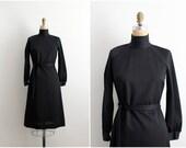 60s Mockneck Black Dress / Jerrie Lurie Dress / Long Sleeve Black Dress / Size S/M