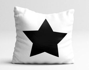 Star nursery decor, black, white star pillow, decorative pillow cover, decorative pillows, cushion cover, nursery throw pillow, star decor