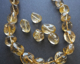 8pcs natural golden rutilated Crystal gemstone tumbled beads