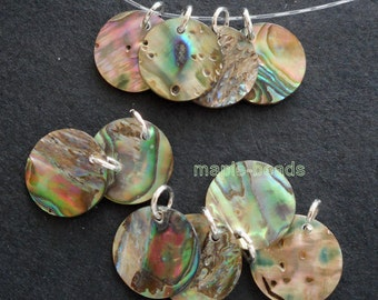 Easy to your project-10pcs-15mm Genuine Abalone Paua shell beads w/ jumping rings