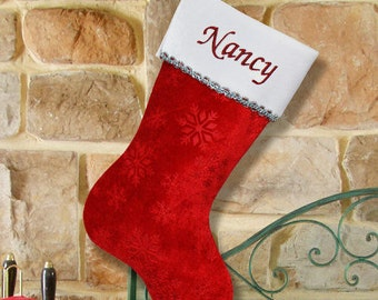 Personalized Embroidered Snowflake Red Christmas Stocking -gfyS34589