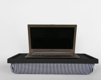 Laptop stand, Breakfast Serving Lap Tray or Laptop Lap Desk, stand- dark grey tray with black and white striped pillow
