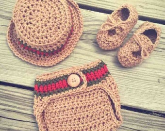 Newborn Crochet Boy GUCCI Inspired Hat, Diaper Cover and Boat Shoes Set ~ Super Cute Photo Prop