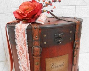 Wedding Card Trunk  / Fall Wedding Card Box / Rustic Wedding Card Holder / Fall Wedding Decor / Wedding Decorations / Orange Wedding Box