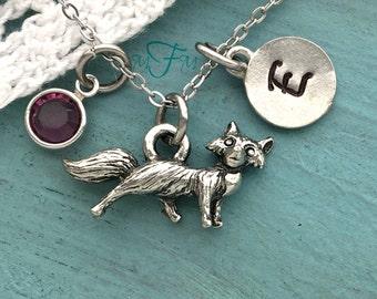Fox Charm Necklace, Personalized Necklace, Silver Pewter Fox Charm, Custom Necklace, Fox, Swarovski Crystal birthstone, monogram