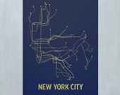 NYC Screen Print-Navy/Gold