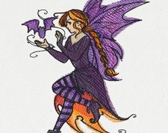 Halloween Fae Embroidered Flour Sack Hand/Dish Towel