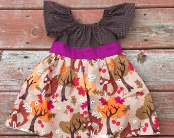 Sale Girls Fall Dress Girls Fox Dress with Sash 0 3 6 12 18 24 2T 3T 4T 5/6 fall family pictures forest foxes holiday autumn dress
