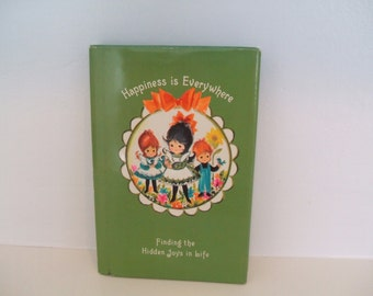 Miniature Vintage Children's Book by Hallmark Happiness IS Everywhere by Alice Ann Biggerstaff 1967 AS IS Decoupage Card Making Scrapbooking