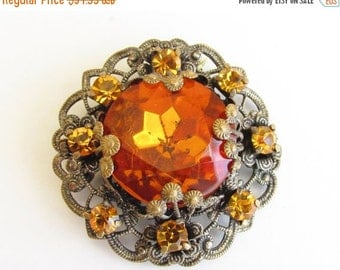 SaLe Vintage Art Deco Orange Amber Rhinestone Brooch