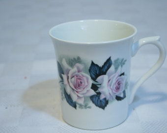 Vintage 60s Rosina Fine Bone China Mug Made in England Roses pink