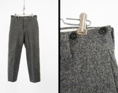 Vintage LL Bean Wool Pants Grey Charcoal Heavyweight Winter Trousers USA Made - 32 x 30