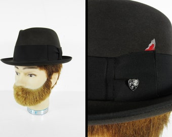 Vintage 50s Penney's Marathon Fedora Black Hat XXX Feather Band - Size 7 1/8