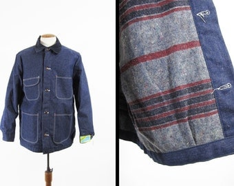 Vintage Blanket Lined Chore Coat Blue Bell NOS Maverick Denim Deadstock Barn Jacket - 42