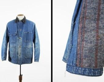 Vintage Denim Chore Coat Blanket Lined Montgomery Ward Distressed 70s - Size 42