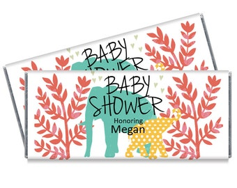 Safari Baby Shower Candy Bar Wrappers - Safari Elephant Jungle Shower Favors - Set of 12