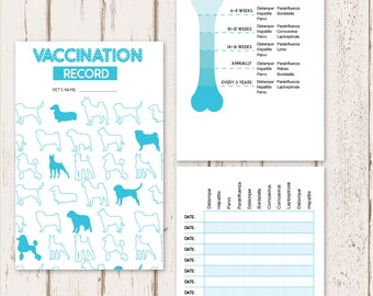 Printable Dog Vaccine Health Record | Pet Care Record Book | Instant PDF Download - Blue