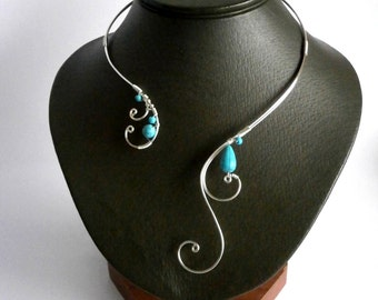 Turquoise Necklace, Wire Necklace, Silver Necklace, Statement Necklace, Unique Necklace, Open necklace, Asymmetric necklace