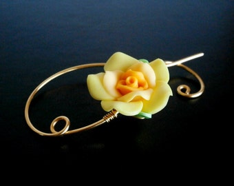 Shawl Pin, Scarf Pin , Yellow Flower brooch, Wire Jewelry, Pin for knitters, Gold pin, Wirework