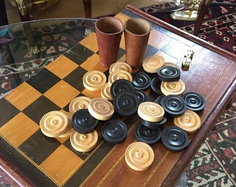 Antique checkerboard. Circa 19c. Wooden inlay and dovetail construction. Wooden pieces