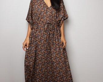 Paisley Dress / Kaftan Long Summer Gown / Brown Maxi Dress : Bohemian Kaftan Collection No.1