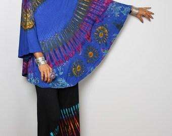 Blue Poncho / Tie Dye Cape / Colourful Poncho : Tie Dye Collection